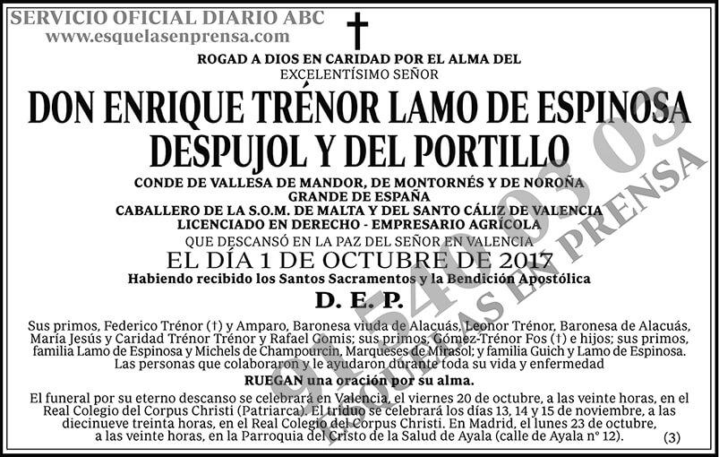 Enrique Trénor Lamo de Espinosa Despujol y del Portillo